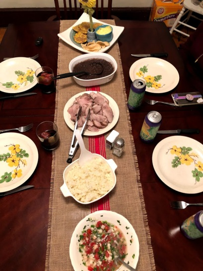 Tostones, Black Beans, Lechón Asado, White Rice, Mojito Ceviche